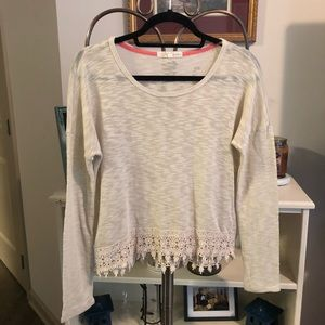 Rewind Ladies Cream Long Sleeve Sweater with Lace